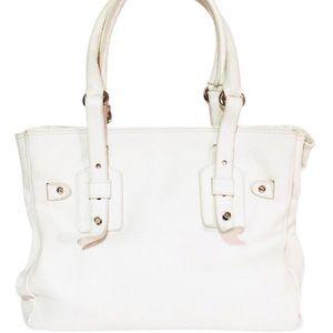 Furla white leather tote satchel
